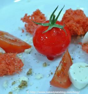 Mozarella Mousse & tomato gel & tomato sponge