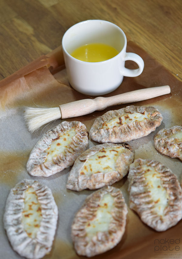 Traditional Finnish Karelian Pasty ready to be brushed with butter