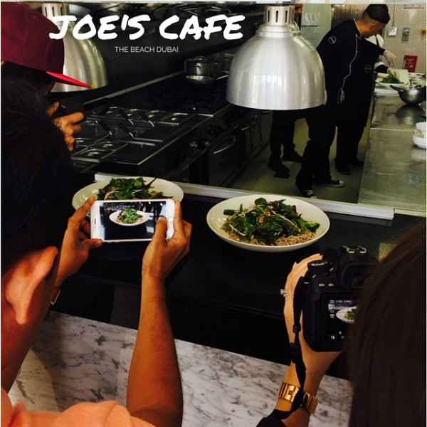 Food shooters in action at Joe's Cafe Dubai Marina