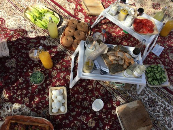 Breakfast spread at Dubai desert